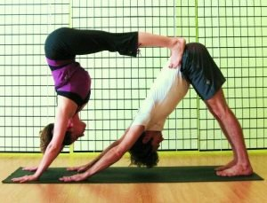 double down dog couples yoga poses  meditation magazine